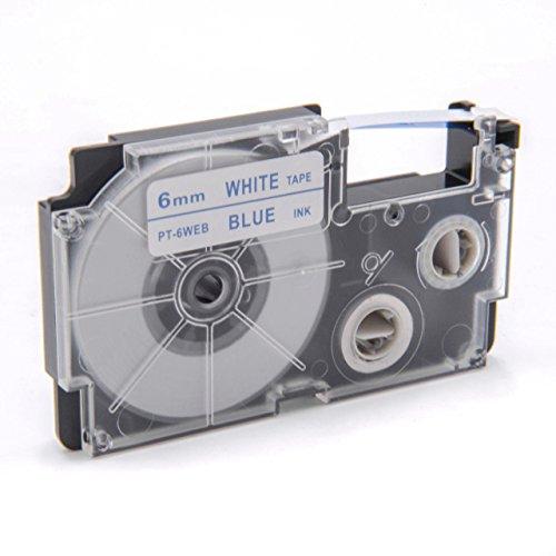 vhbw Kassette Patronen Schriftband 6mm kompatibel mit Casio KL-60, KL-120, KL-70E, KL-100E, KL-300, KL-750E, KL-780, KL-1500, KL-7000 Ersatz für XR-6WEB, XR-6WEB1.