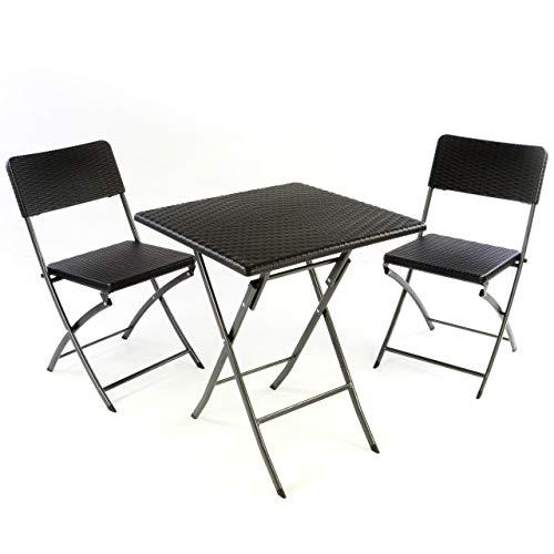 Nexos 3er Set Garnitur Tischset mit 2 Stühlen 1 Tisch Balkonset in Rattan-Optik Schwarz Bistroset klappbar Garten Terrasse Balkon Kunststoff Metallgestell Robust Wetterfest...