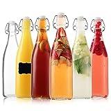 Flip Top Glass Bottles - Kombucha Bottles with Swing Top Lids – Clear Beer Brewing Bottles with Stopper - Swing Top Bottles for Beverages, Smoothies, Kefir, Beer, Soda, Juicing, Kombucha, Water, Milk, Oil and Vinegar (6 Pack 25 Oz)