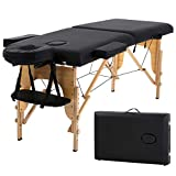 Best Home Product 73 Inch 2 Folding Massage Table Massage Bed Spa Bed Portable Height Adjustable W/Face Cradle Carry Case Spa Table for Salon Beauty Treatment Tattoo Household,Black
