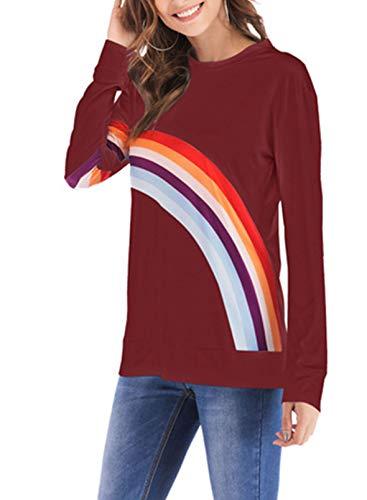 FOBEXISS Camiseta de manga larga con estampado de arco iris para mujer, cuello redondo, ajuste entallado.