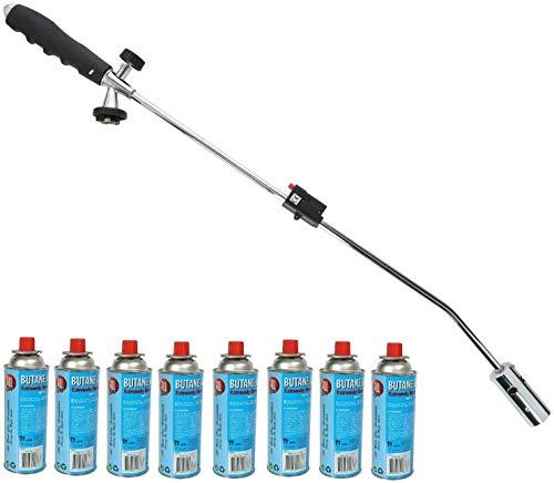 Vani Unkrautvernichter inkl. 8 Gasflaschen & 1 Feuerzeug - Abflammgerät für Unkraut - Unkrautbrenner - Gas-Brenner - Unkrautreiniger für große Flächen