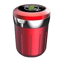多機能灰皿 LEDライト、新しいポータブル無煙シリンダー、カーインテリア、洗濯可能な着脱式カップホルダー付き車の灰皿、互換性と日産、蓋付きの車の灰皿、 (Color : Red)