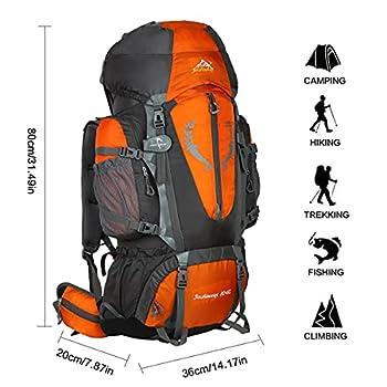 HWJIANFENG 80+5L Sac à Dos de Randonnée pour Femme Homme Sac de Sport pour Alpinisme Escalade Voyage Bivouac Trekking Camping Orange