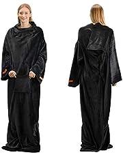 Winthome着る毛布 ブランケット 袖付き毛布 着るブランケット防寒 軽量 冬の寒さ 足先の冷えや節電対策に 男女兼用 足入れ付き (黒)