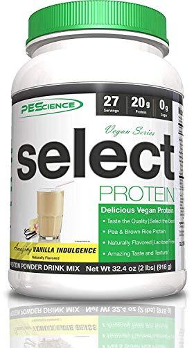 PEScience Select Vegan Protein Powder, Vanilla Indulgence, 27 Serving (2 Pack), Premium Pea and Brown Rice Protein Blend