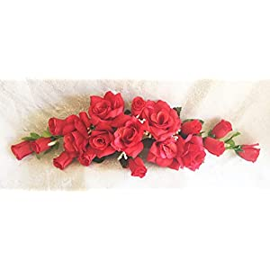 Silk Flower Arrangements Red Swag Silk Roses Artificial Flowers Fake Wedding Arch Table Runner Centerpiece, for Wedding Supplies