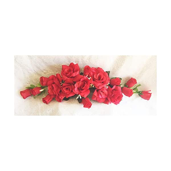 Red 2 ft Artificial Roses Swag Silk Flowers Wedding Arch Table Runner Centerpiece, for Wedding Supplies