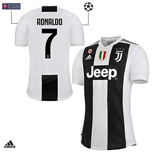 Juventus Maglia Ronaldo Gara Home Authentic 2018/19 - Originale - Uomo - Patch Scudetto e Coppa Italia Sempre Incluse - Taglia M - Champions