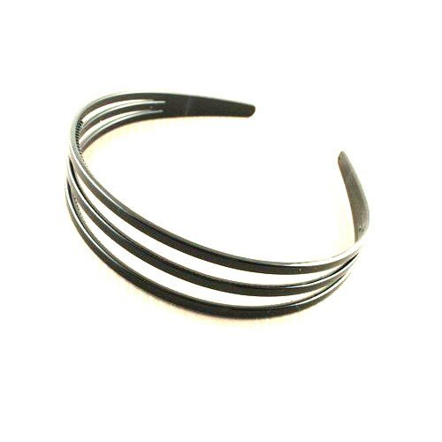 Black Triple Row Plastic Alice Band IN7859 by Alice Bands