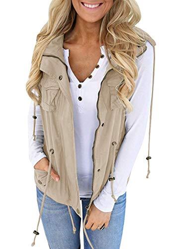 Tutorutor Women's Military Safari Utility Drawstring Lightweight Vest Jacket with Pocket (X-Large, Khaki)