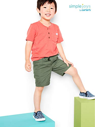 Simple Joys by Carter's Boys' Toddler 3-Pack Short Sleeve Henley, Orange, Blue, Red, 3T