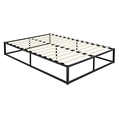 ML-Design Metallbett 140x200 cm auf Stahlrahmen mit Lattenrost, Schwarz, Bettgestell aus Metall, robust, leichte Montage, Bett für Schlafzimmer der Jugendliche Erwachsene, Doppelbett Ehebett Gästebett