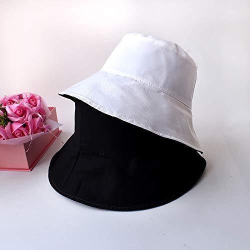 Sombrero de Pescador Femenino Primavera y otoño Moda Color sólido Sombrero de Doble Cara versión Coreana Femenina de la Marea Verano Calle Ocio Salvaje Sombrero para el Sol