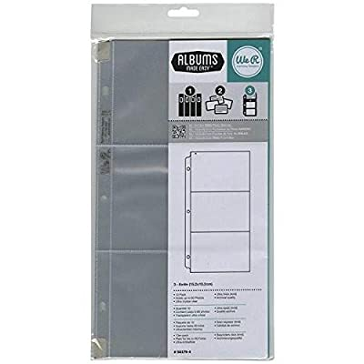 6 x 12-inch 3-Ring Album Page Protectors by American Crafts | Includes 10 sheets with 3-4 x 6-inch pockets each