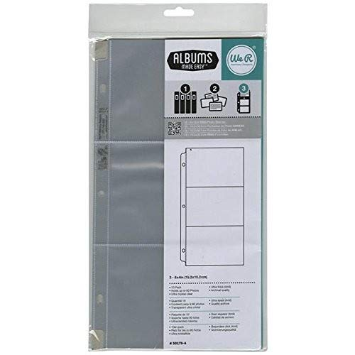 6 x 12-inch 3-Ring Album Page Protectors by American Crafts | Includes 10 sheets with 3 - 4 x 6-inch pockets each