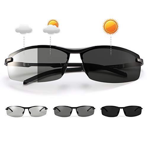 MIRYEA Herren Photochromatisch Sportbrille Polarisiert Rechteckig Sonnenbrille Al-Mg Metallrahmen Fahrer Anti Reflexbeschichtung 100% UVA UVB Schutz für Golf, Angeln, Autofahren, Outdoor-Aktivitäten