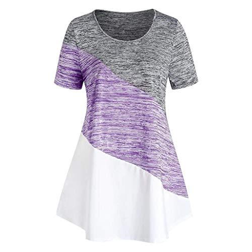 ThsiJJ Women's Tops Fashion Clothing,Women O-Neck Plus Size Blouse Space Dyeing Short Sleeve Colorblock T Shirt Tops Purple