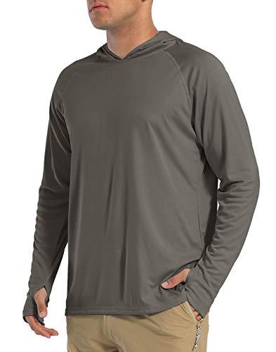 EKLENTSON Herren UPF50+ Langarmshirt Rashguard Outdoor- und Wassersport mit UV-Sonnenschutz (XXXL, Dunkelgrau)