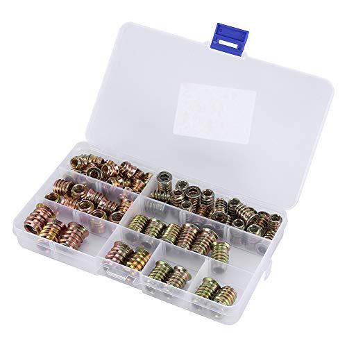 Juego de tuercas y tornillos fácil de usar de 65 piezas, kit de tornillos de alta dureza, hierro para el enlace de ensamblaje de madera para el hogar