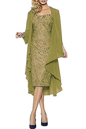 CoCogirls Vestido de noche para madre con encaje, vestido de noche, vestido de fiesta, boda, vestido de madre de novia con chaqueta verde oliva 36