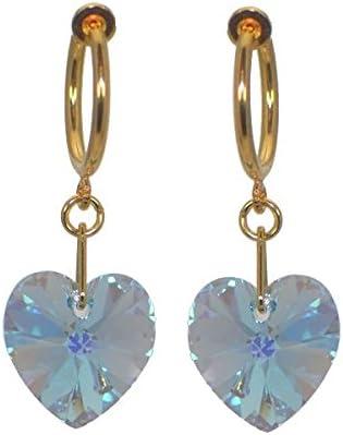CERCEAU VALENTINE Gold Plated Aquamarine AB Heart Crystal Clip On Earrings