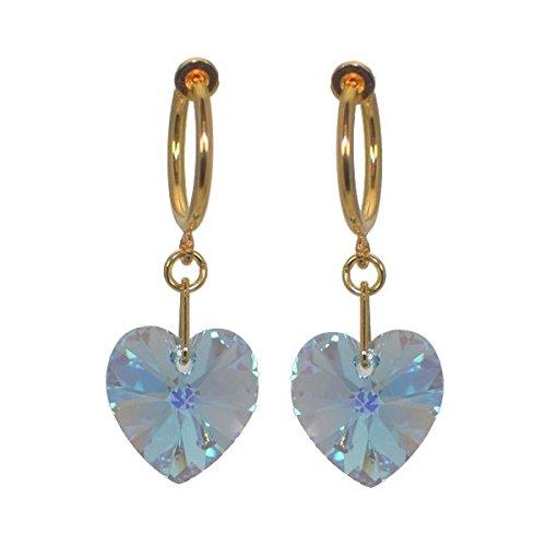 CERCEAU VALENTINE Swarovski Aquamarine AB cuore Crystal Clip su orecchini placcato oro