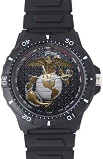Fathers/Husbands/Sons Gifts USMC Marine Corps Black Plastic High Quality Watch
