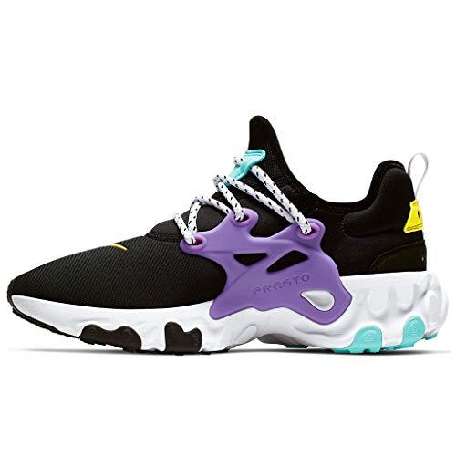 Nike Men's React Presto Running Shoes (10, Black/Dynamic Yellow/Aurora Green)