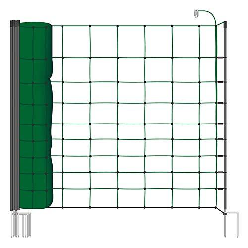 Malla eléctrica para ovejas, cabras, rollo de 50m de longitud y 108cm de altura, 14 postes con punta doble y kit de reparación, color verde