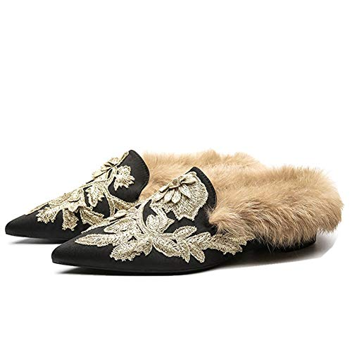 Fericzot Slip On Loafers Womens Embroidery Mule Shoes with Plush Lamb Fur Velvet Slippers Backless Pointed Toe Mule Slides Black Satin-Slipper 8.5