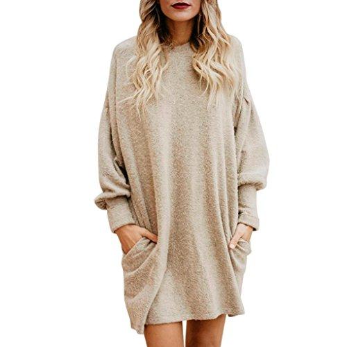 Suéter Mujer, Xinan Blusa de Mujer de Moda Suéter Largo con Bolsillo o Cuello sólido Sudadera Suelta Casual de Manga Larga