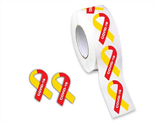 Fundraising For A Cause | Coronavirus COVID-19 Awareness Ribbon Stickers - Small Red & Yellow Ribbon Stickers on a Roll for COVID-19 Awareness, Fundraising & Envelope Labels (1 Roll - 500 Stickers)