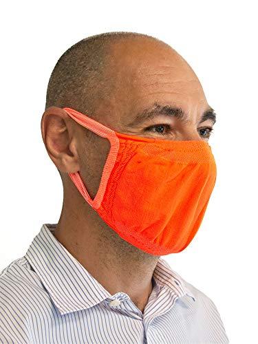 Relaxsan - Set 3 [Naranja Fluo] Bandas filtrantes Rostro Boca Nariz Lavables Reutilizables absorbentes Tejido bacteriostático
