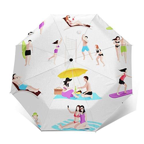 Paraguas Plegable Automático Impermeable Familia Jugando Voleibol en la Playa, Paraguas De Viaje Compacto A Prueba De Viento, Folding Umbrella, Dosel Reforzado, Mango Ergonómico