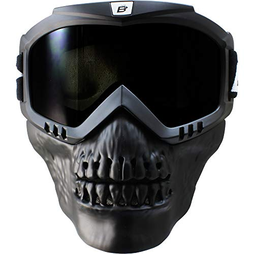 Birdz Skullbird Black Padded ATV Motorcycle Riding Goggle with Face Mask (Smoke)