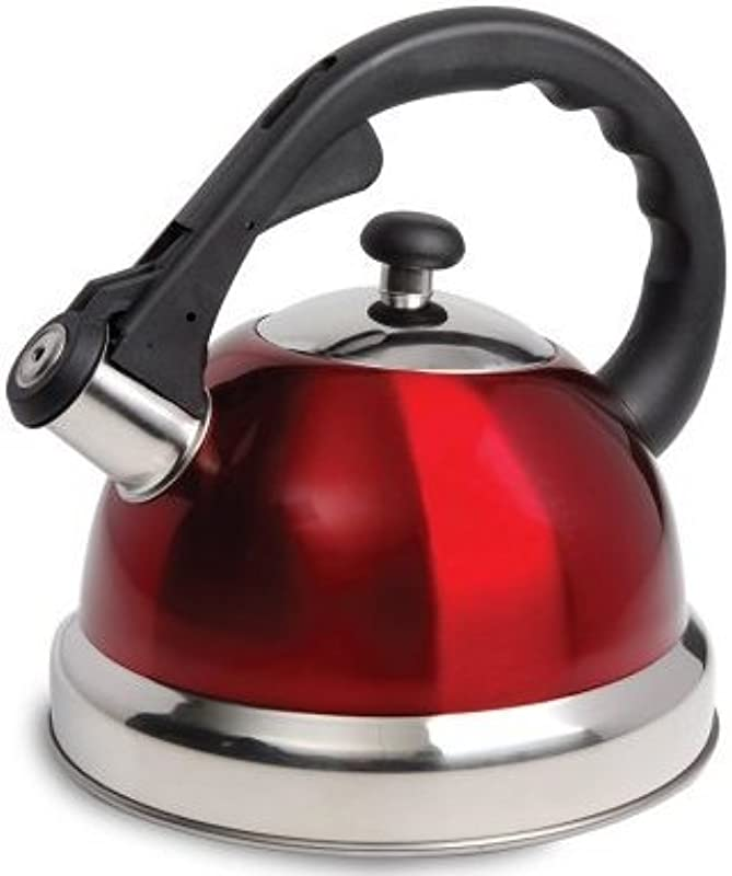 1 7QT CLAREDALE WHISTLING TEA KETTLE RED NYLON HANDLE STAINLESS STEEL
