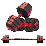 Weights Dumbbells Set Adjustable to 22/44/66Lbs, Free Weight Dumbbells Set for Adults Men Women Home Weight Set Fitness Barbell Set with Connecting Rod Home Gym Workout Exercise Training Red (44)