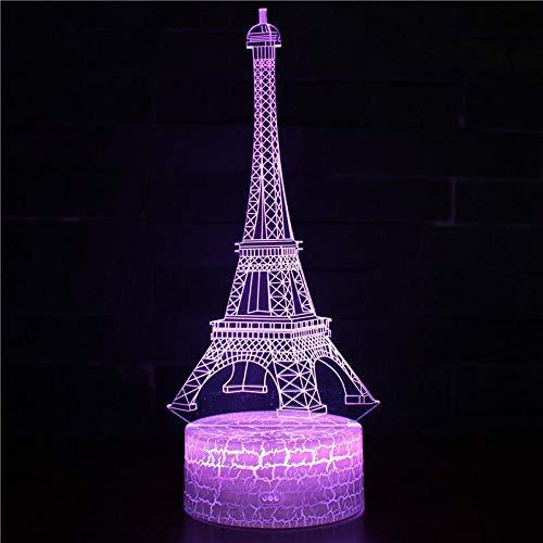 Linterna de cama de acrílico Lámpara de mesa de luz nocturna 3d Regalo para niños LED Decoración de dormitorio Juego Juego Forma abstracta Torre Eiffel