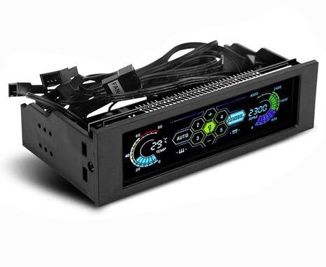 ASHATA PC Ordenador Ventilador Controlador, LCD-Panel Frontal Controlador de Temperatura del Ventilador de 5 Vías, Sensor de Temperatura de CPU Unidad de Enfriamiento de Computadora
