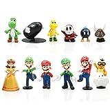 Yisscen Juego de 12 figuras de Super Mario Bros, para decoración de tartas, decoración de fiestas, decoración de mesa, figuras coleccionables