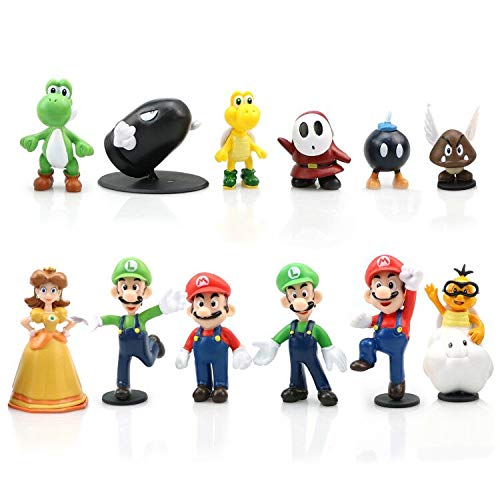 Yisscen Super Mario Figures, 12 pezzi Mario Bros Action Figures, Mini Super Mario Toys Figurine Mario & Luigi PVC Toy per la Decorazione di Torte, Decorazioni per Feste, Figure da Collezione