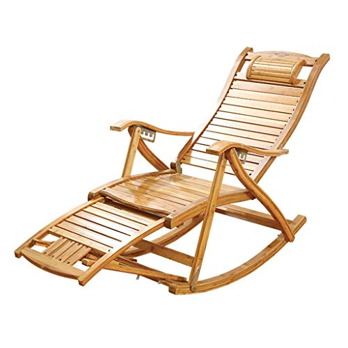 SGSG Garden Bamboo Rocking Chair, Folding Outdoor Recliner, Home Elderly 5-speed Adjustable Chair, Multi-functional Camping Sun Lounger