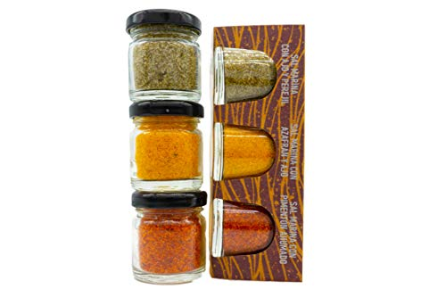 Gewürzsalze Set 3x40g Pack mit Meersalz Petersilie, Salz Safran, Salzmischung Paprika, besonderes Geschenk aus Mallorca