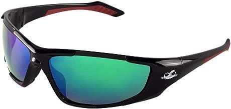 Bullhead Safety Eyewear BH1251612 Javelin, Black Frame, Polarized Green Mirror Lens, Black TPR Nose, Red Temple (1 Pair)