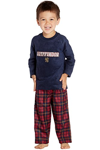 Harry Potter Gryffindor Lion Christmas Plush Holiday Pajama Set, Navy, 5T