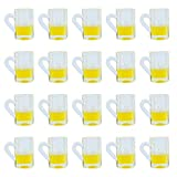 AUEAR, Lovely Plastic Beer Cup Mug Model Dollhouse Mugs Miniature Cups for Miniature Dollhouse Accessories (20 Pieces)