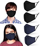 4 Pack Kids & Teenagers Face Masks | 3-ply Cotton Fabric Childrens Mask | Washable Reusable Filter Slot, Adjustable Teen Boys Girls Face Covering Protection | UK Seller | 2 Black 2 Blue Child facemask