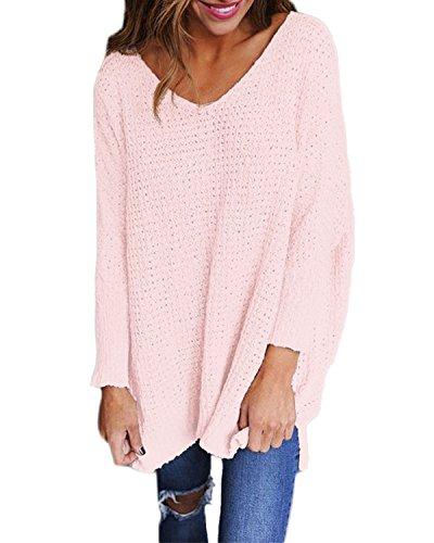 StyleDome Women's Long Sleeve Shirt Blouse V-Neck Pullover Oversized Baggy Crochet Knitted Jumper Light Pink 2XL