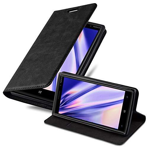 Cadorabo Hülle für Nokia Lumia 830 in Nacht SCHWARZ - Handyhülle mit Magnetverschluss, Standfunktion & Kartenfach - Hülle Cover Schutzhülle Etui Tasche Book Klapp Style